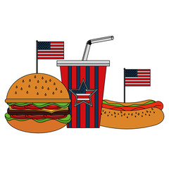 burger hotdog and soda with flag american vector illustration