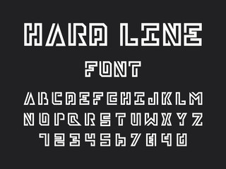 Hard line font. Vector alphabet