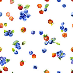 Meadow, summer, field, garden, rustic, tasty, aromatic strawberry. Blue, black, forest, marsh, useful blueberries. Ripe, fresh, healthy, natural berries. Watercolor. Illustration