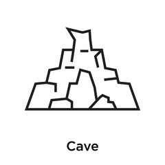 Cave icon vector sign and symbol isolated on white background