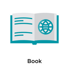 Book icon vector sign and symbol isolated on white background