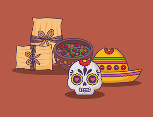Mexican tamales with sugar skull and sauce bowl over brown background, colorful design. vector illustration