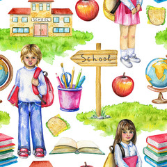 Seamless pattern with school, schoolchildren, lunch, globe, grass, pointer, stationery and books on white background. Watercolor hand drawn illustration