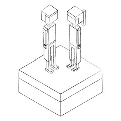 young boy and girl standing on field isometric vector illustration sketch