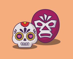 wrestler mask and sugar skull over orange background, colorful design. vector illustration