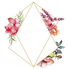 Pink bouquet wildflower. Frame border ornament square. Aquarelle wildflower for background, texture, wrapper pattern, frame or border.