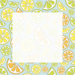 Cute pastel coloured frame with hand drawn citrus fruits. Vector.