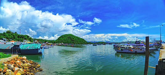 Jetty on the island of Flores, Indonesia. Panorama