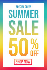 Design of multicoloured poster for Summer Sale. Vector.