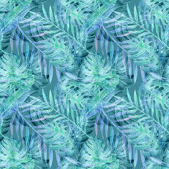 Tropical leavs, seamless pattern