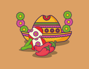 wreath of flowers with Mexican hat and maracas over orange background, colorful design. vector illustration