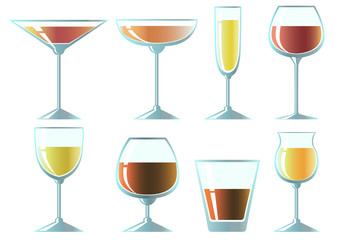 Set of glasses for different drinks. Vector illustration.