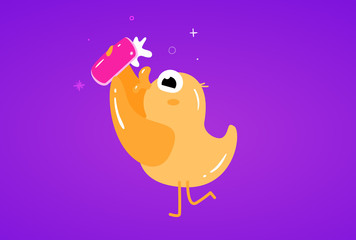 Cute Flat Duck makes selfie on a mobile phone vector illustration