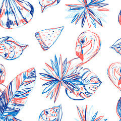 Summer tropical pattern with leaves and flamingo. Modern colorful background