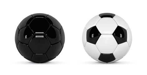 Set of 2 realistic soccer balls or football ball on white background. 3d Style vector Ball isolated on white background. Soccer black and white ball