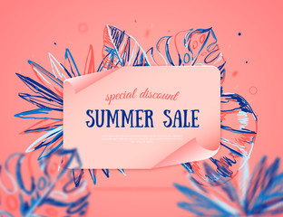 Summer sale banner with colorful tropical leaves on background, exotic pink design for site banner,poster, promotion.