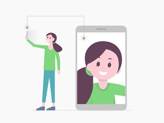 Smiling cartoon girl taking selfie
