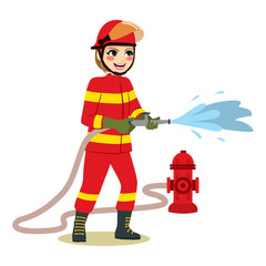Happy female firefighter standing holding hose throwing water working