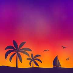 Summer background with palm trees and copyspace. Vector.