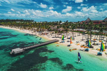 Aerial drone view of Caribbean resort Bavaro, Punta Cana, Dominican Republic .