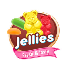 Jelly sweets colorful poster or badge.