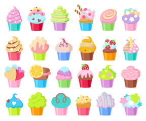Cupcakes vector icons set.