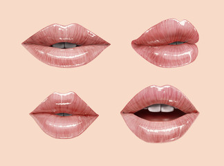 Nude sensual juicy lips collection. Mouth set. Vector lipstick or lip gloss. Gentle pink dusty rose colors