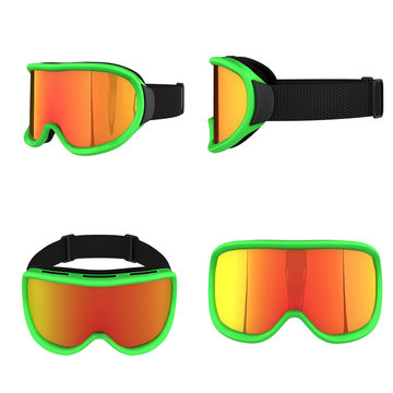 Set of Original SKI Goggles. Winter sport equipment. All view. 3D render Illustration isolated on a white background.
