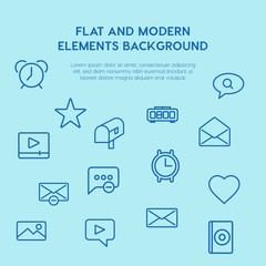 chat and messenger, video, time, email outline vector icons and elements background concept on blue background.Multipurpose use on websites, presentations, brochures and more