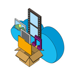 cloud storage box music photo movie files isometric vector illustration