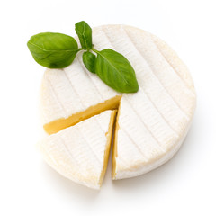 Piece of camembert cheese isolated on white background. From top view.
