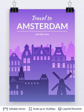 Amsterdam famous city scape.