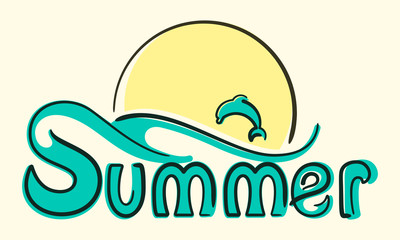 Summer lettering card with dolphin and sun