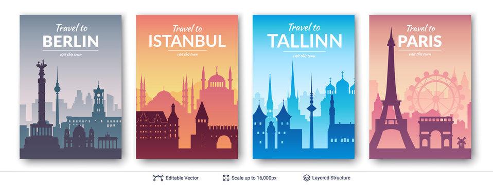 European famous city scapes set.
