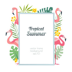 Tropical frame with beautiful pink flamingo and exotic palm leaves summertime hawaii
