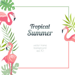 Tropical flamingo template summertime with exotic birds and palm leaves square background