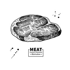 Raw beef steak vector drawing. Red meat hand drawn sketch. Engraved food