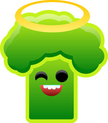 Angelic broccoli winks against white background