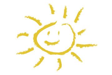 Sol sonriente sobre fondo blanco.