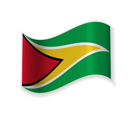 The Flag Of Guyana. Country in South America. Vector illustration. The Capital George Town.