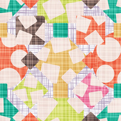 Tracery is an abstract print with geometric shapes. Rhombus, square, triangle and circle design vector illustration.