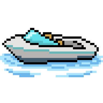 vector pixel art beach boat