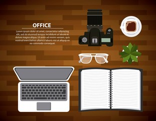 office laptop open notebook glasses photographic camera and coffee on wooden table vector illustration