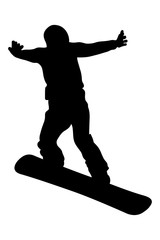 snowboard jump and flying athlete snowboarder black silhouette