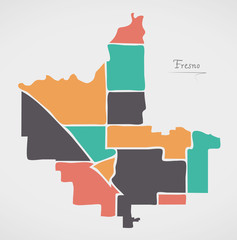 Fresno California Map with neighborhoods and modern round shapes