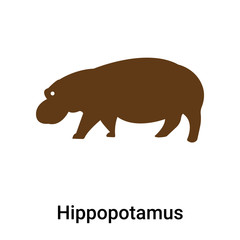 Hippopotamus icon vector sign and symbol isolated on white background