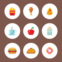 Pixel art food computer design icons vector illustration restaurant pixelated element fast food retro game web graphic.