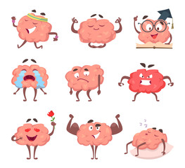 Brain cartoon mascot in various poses
