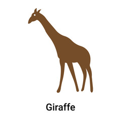 Giraffe icon vector sign and symbol isolated on white background
