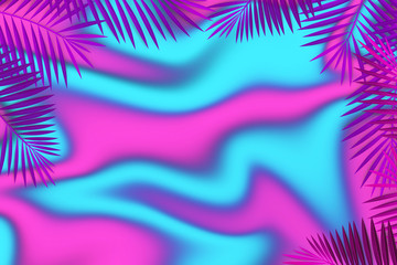 Fashion Background Palm Leaves Frame. Can use Sale sign, flyer, poster, shopping, card, website, party, promotion.